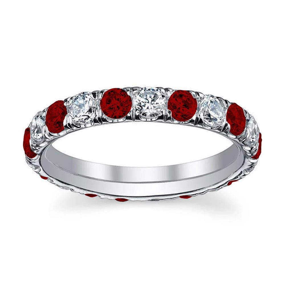 Diamond and Ruby U-Pave Eternity Ring Gemstone Eternity Rings deBebians