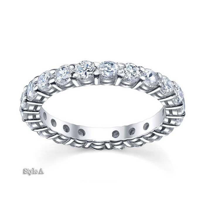 3mm Moissanite Forever One Round Eternity Ring Moissanite Wedding Rings deBebians