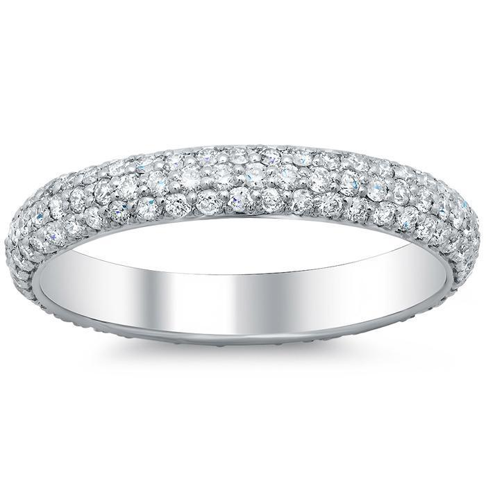 1.30 cttw Single Row Pave Set Milgrain Diamond Eternity Band