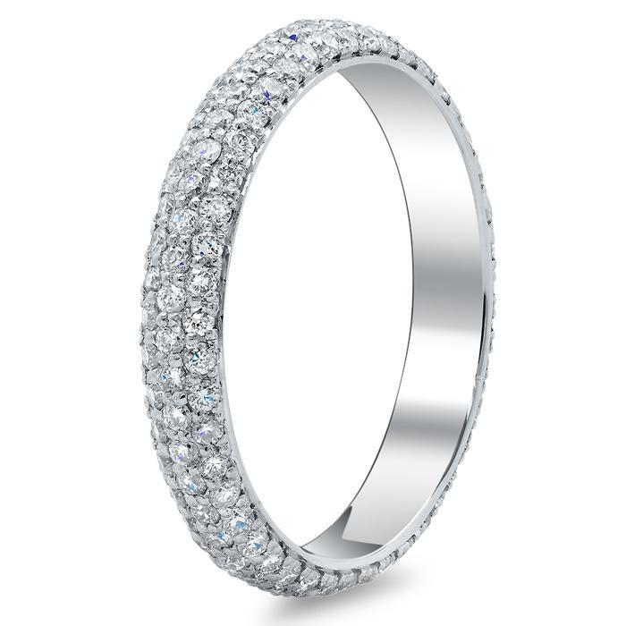 Three Row Pave Set Diamond Eternity Band - 0.60 carat - SI Clarity Diamond Eternity Rings deBebians