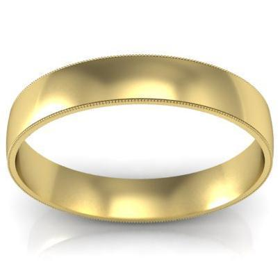 4mm Milgrain Wedding Band in 14k Plain Wedding Rings deBebians