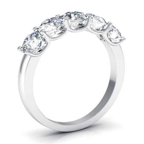 1.50cttw U Prong Round GIA Certified Diamond Five Stone Ring Five Stone Rings deBebians