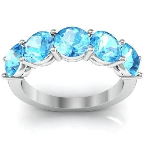 3.00cttw Shared Prong 5 Stone Aquamarine Ring Five Stone Rings deBebians