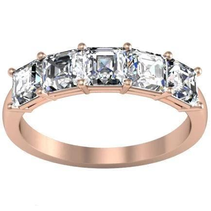 1.50cttw Shared Prong Asscher Diamond Five Stone Ring Five Stone Rings deBebians