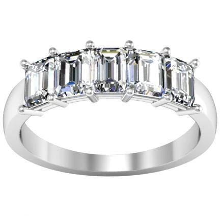 1.50cttw Shared Prong Emerald Cut Diamond Five Stone Ring Five Stone Rings deBebians