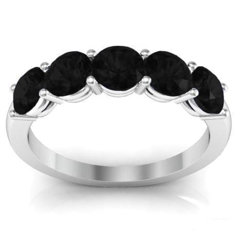 1.50cttw Shared Prong Black Diamond 5 Stone Band Five Stone Rings deBebians