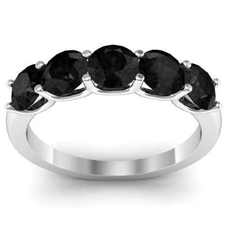 2.00cttw Shared Prong White Diamond and Black Diamond 5 Stone Band