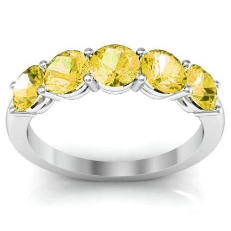 1.50cttw Shared Prong Yellow Sapphire Five Stone Ring Five Stone Rings deBebians