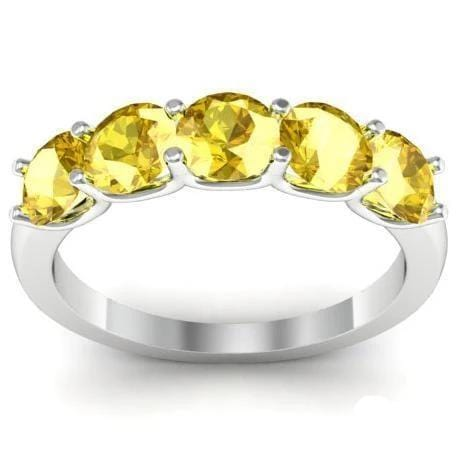 1.50cttw U Prong Yellow Sapphire Five Stone Band Five Stone Rings deBebians
