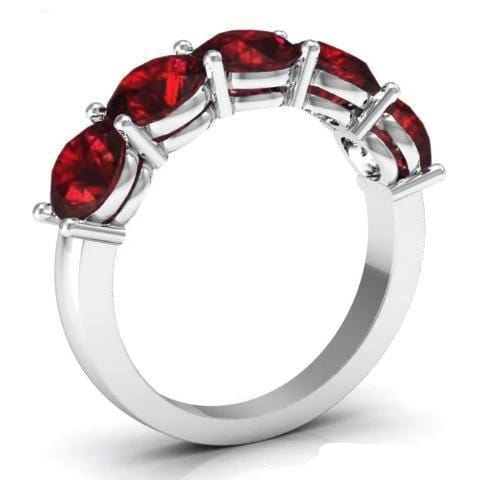 3.00cttw Shared Prong Garnet Five Stone Ring Five Stone Rings deBebians