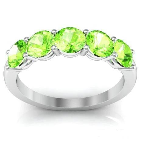 5 Stone Peridot August Birth Stone Band