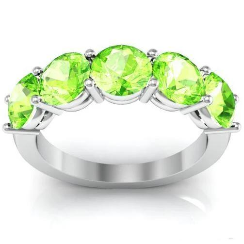 3.00cttw Shared Prong 5 Stone Peridot Birthstone Ring Five Stone Rings deBebians