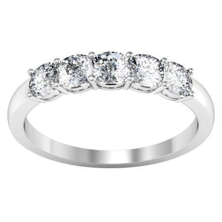 1.00cttw Shared Prong Cushion Cut Diamond Five Stone Ring Five Stone Rings deBebians