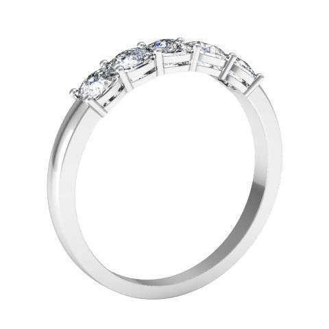 1.00cttw Shared Prong Radiant Cut Diamond Five Stone Ring Five Stone Rings deBebians