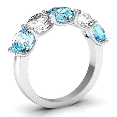 3.00cttw U Prong Aquamarine and Diamond 5 Stone Ring Five Stone Rings deBebians