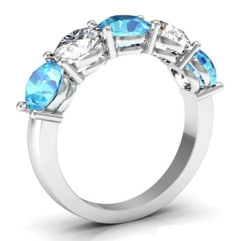 3.00cttw Shared Prong Aquamarine and Diamond Five Stone Ring Five Stone Rings deBebians