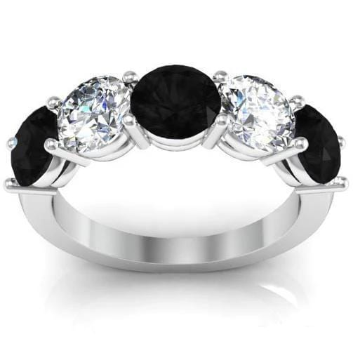 3.00cttw Shared Prong Black Diamond and White Diamond Five Stone Ring Five Stone Rings deBebians