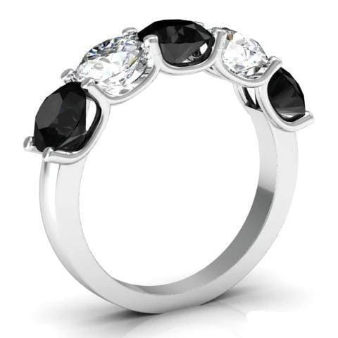 3.00cttw U Prong Black Diamond and White Diamond Five Stone Ring Five Stone Rings deBebians