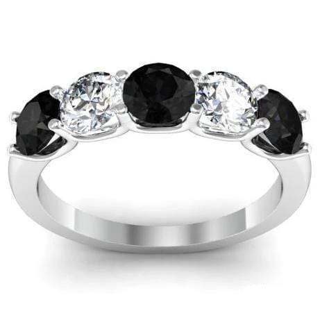 1.50cttw U Prong Black and White Diamond Five Stone Ring Five Stone Rings deBebians