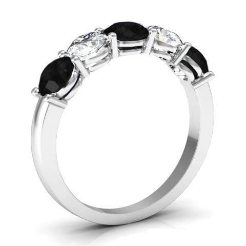 1.50cttw Shared Prong White and Black Diamond Five Stone Ring Five Stone Rings deBebians