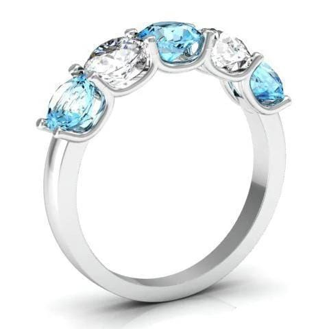 2.00cttw U Prong Diamond and Aquamarine Five Stone Ring Five Stone Rings deBebians