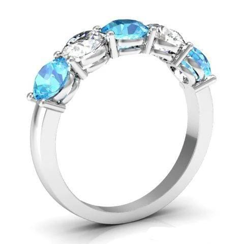2.00cttw Shared Prong 5 Stone Ring with Diamond and Aquamarine Five Stone Rings deBebians