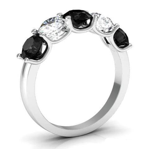 2.00cttw U Prong White Diamond and Black Diamond Five Stone Ring Five Stone Rings deBebians