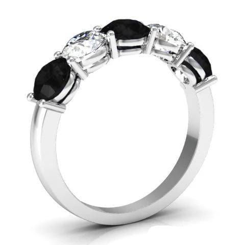 2.00cttw Shared Prong White Diamond and Black Diamond 5 Stone Band Five Stone Rings deBebians