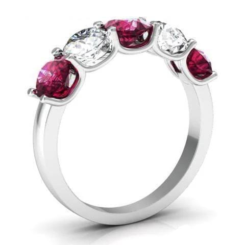 2.00cttw U Prong Diamond and Garnet Five Stone Ring Five Stone Rings deBebians
