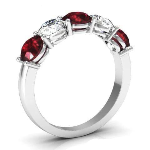 2.00cttw Shared Prong Diamond and Garnet 5 Stone Ring Five Stone Rings deBebians
