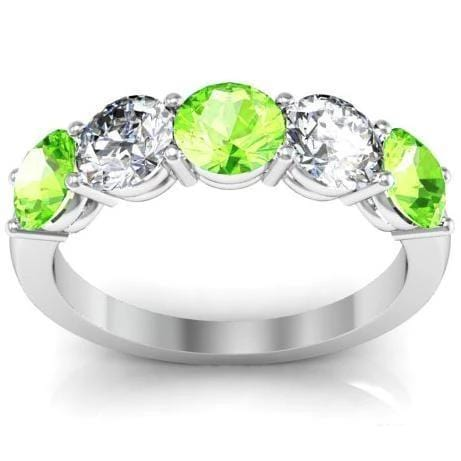 5 Stone Ring with Diamond and Peridot Gemstones