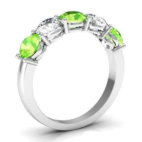 2.00cttw Shared Prong 5 Stone Ring with Diamonds and Peridot Five Stone Rings deBebians
