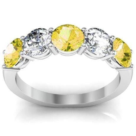 2.00cttw Shared Prong Diamond and Yellow Sapphire Gemstone Five Stone Ring Five Stone Rings deBebians