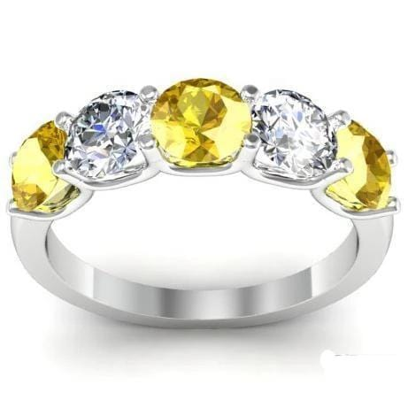 2.00cttw U Prong Diamond and Yellow Sapphire Gemstone Five Stone Band Five Stone Rings deBebians