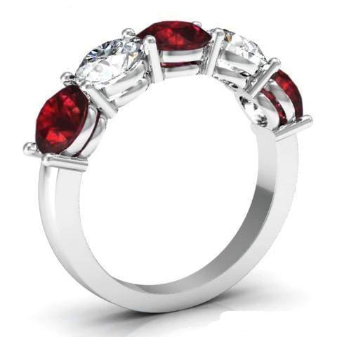 3.00cttw Shared Prong Garnet and Diamond Five Stone Ring Five Stone Rings deBebians