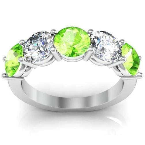 5 Stone Ring with Peridot and Diamond Birth Stones