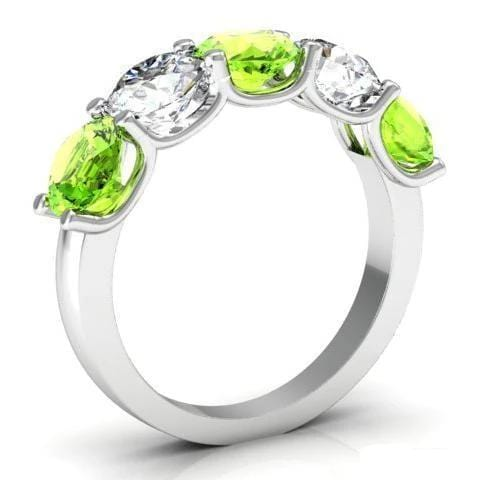 3.00cttw U-Prong 5 Stone Band with Peridot and Diamonds Five Stone Rings deBebians