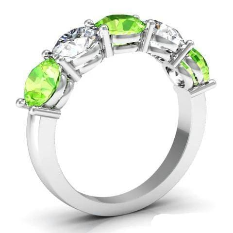 3.00cttw Shared Prong 5 Stone Ring with Peridot and Diamonds Five Stone Rings deBebians