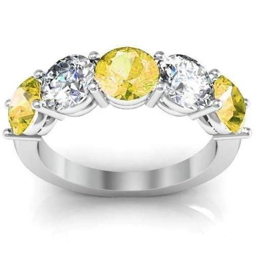 3.00cttw Shared Prong Yellow Sapphire and Diamond 5 Stone Ring Five Stone Rings deBebians