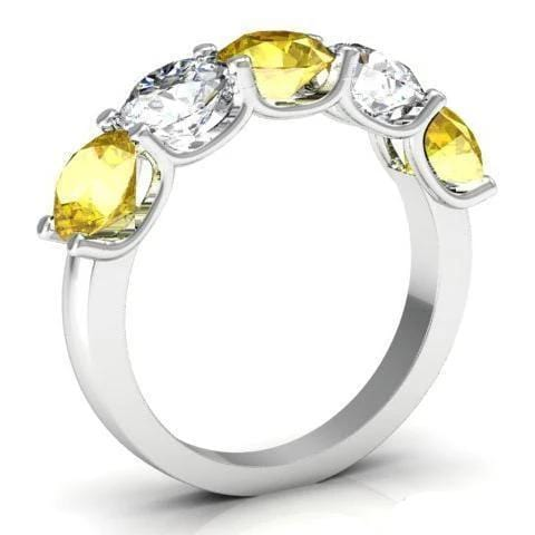 3.00cttw U Prong Yellow Sapphire and Diamond 5 Stone Band Five Stone Rings deBebians