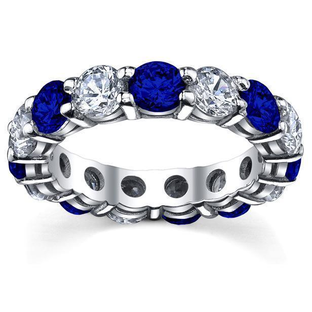 5.00cttw Diamond and Blue Sapphire Eternity Ring Gemstone Eternity Rings deBebians