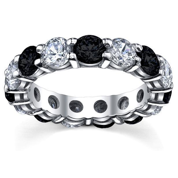 Black and White Diamonds Eternity Wedding Band Gemstone Eternity Rings deBebians