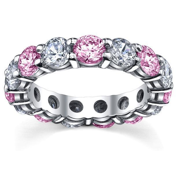 Pink Sapphires Diamonds Eternity Band Gemstone Eternity Rings deBebians