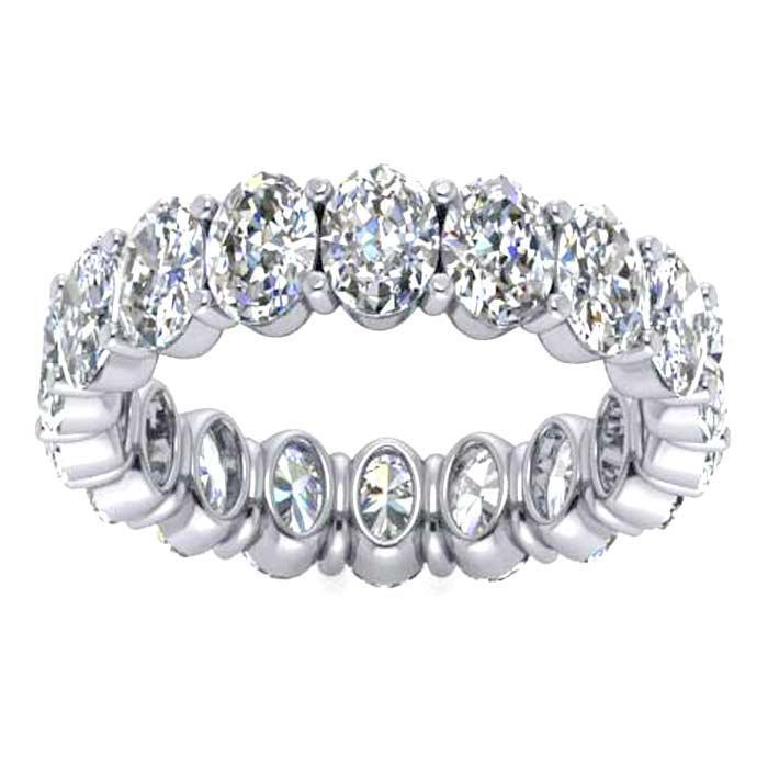 Oval Cut Shared Prong Diamond Eternity Band - 4.50 carat - VS Clarity Diamond Eternity Rings deBebians