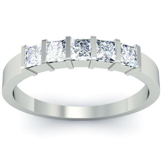 0.50cttw Bar Set Princess Cut Diamond Five Stone Ring Five Stone Rings deBebians
