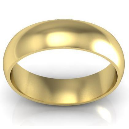 Domed Wedding Band in 18k 6mm