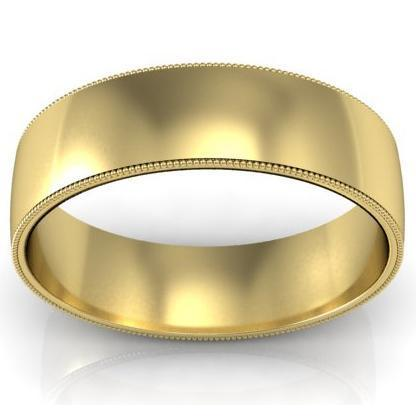 6mm Milgrain Wedding Band in 14k