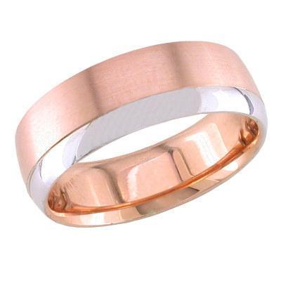 7mm Rose Gold Ring for Men with White Gold Accent Unique Wedding Rings deBebians