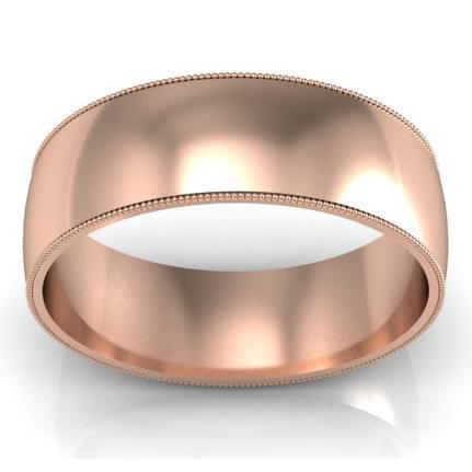7mm Milgrain Wedding Band in 14k Plain Wedding Rings deBebians