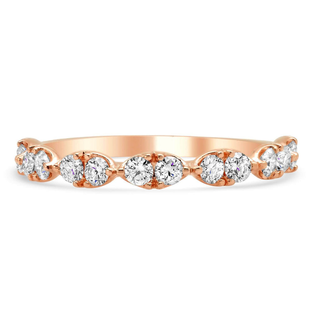 14kt Rose Gold Round Diamond Dainty Wedding Ring Ready-To-Ship deBebians